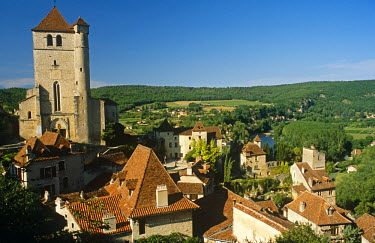 FRA7024 France, Midi-Pyrenees, Lot, St-Cirq-Lapopie. Dominated by its 15th-century church and overlooking the River Lot, this celebrated village lies on the 'Way of St James' (aka Chemin de St-Jacques) and is...