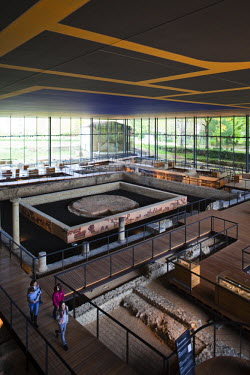 FR06358 France, Aquitaine Region, Dordogne Department, Perigueux, Vesunna Gallo-Roman Museum, Jean Nouvel-architect, ruins of large Gallo-Roman house