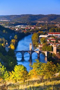 FR06322 France, Midi-Pyrenees, Lot Department, Cahors, Pont Valentre, midieval bridge, Lot River