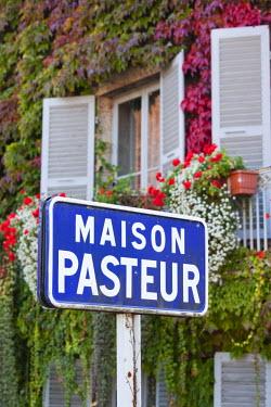 FR08102 France, Jura Department, Franche-Comte Region, Arbois, sign for the Maison Pasteur, home of scientist Louis Pasteur