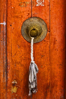IND6545 India, Ladakh, Leh. Door to the Chamba Lhakhang, a shrine to Maitreya, the Future Buddha, just below Leh Palace.