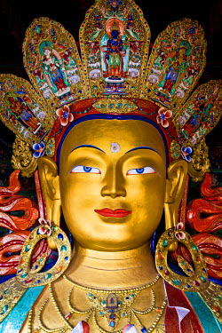 India, Ladakh, Thiksey. The immense and beautifully gilded Maitreya Buddha in the Chamkhang temple at Thiksey Monastery.