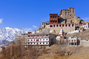 IND6585 India, Ladakh, Thiksey. Thiksey Monastery, its buildings seemingly tumbling down the hillside.