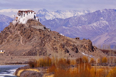 IND6589 India, Ladakh, Stakna. Stakna Monastery, dramatically perched on a pyramidal crag, with the Indus River flowing by.