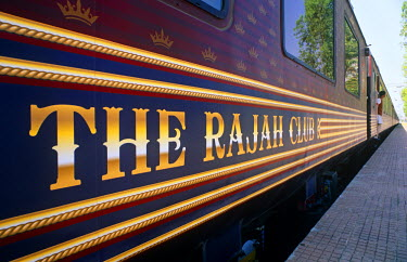 IND6670 India, Maharaja's Expree Train. The bar car of the Maharajas' Express, a special luxury tourist train which follows several itineraries from Mumbai and Delhi.