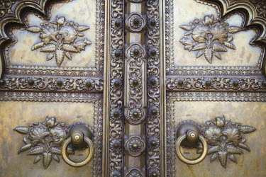 IND6794AW Details on Green Gate in Pitam Niwas Chowk, City Palace, Jaipur, Rajasthan, India