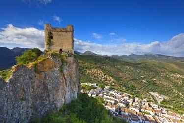 ES05605 Moorish tower & village overview, Zahara de la Sierra, Cadiz Province, Andalusia, Spain