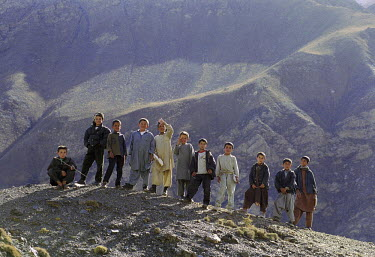 NP00333189 Boys standing side by side, Afghanistan