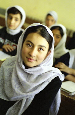NP00333185 Portrait of a schoolgirl from Afghanistan