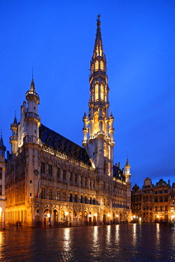 BEL1149 The Town Hall (French: H�tel de Ville), of the City of Brussels is a Gothic building from the Middle Ages. It is located on the famous Grand Place in Brussels, Belgium.
