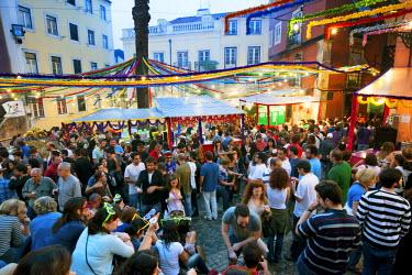 POR6534AW Santo Antonio festivities in Alfama quarter. Lisbon, Portugal