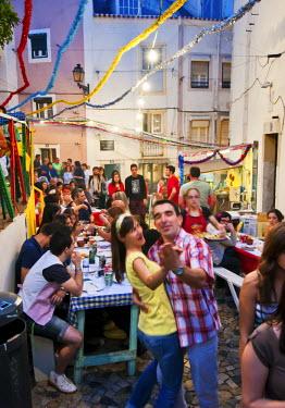 POR6536AW Santo Antonio festivities in Alfama quarter. Lisbon, Portugal