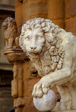 IT9629 Italy, Florence, Western Europe; Detail of statues outside Palazzo Vecchio