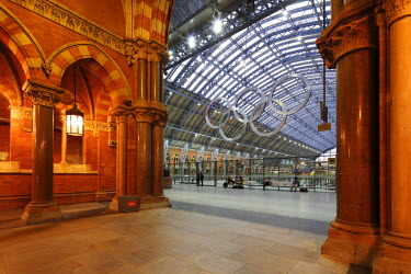 ENG10203 The Olympic Rings in St. Pancras International, home of Eurostar and gateway to Paris.