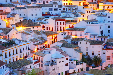 SPA3855AW Spain, Andalucia, Setenil, view over village at dusk, Close-up