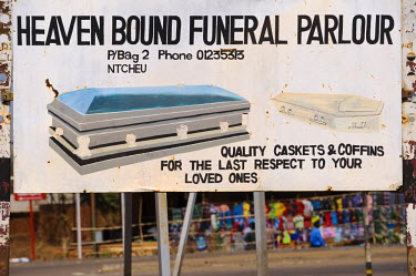 MW1286 Malawi, Ntcheu.  Sign for a funeral parlour and coffins.