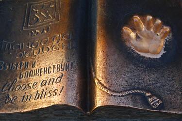 KZ01048 Kazakhstan, Almaty, Respublika Alangy Soviet created ceremonial sqaure, Bronze book with Hand print of President Nazarbaev�s palm