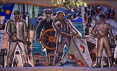 RUS1765 Sakhalin, Yuzhno-Sakhalin, Russia; Mosaics with 'Socialist-realism' themes dating back to the Soviet era