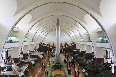 CH9609 The main hall of the Military Museum of the Chinese Peoples Revolution with a DF-1 ballistic missile in the centre, surrounded by aircraft and tank exhibits, Fengsheng, Beijing, China.