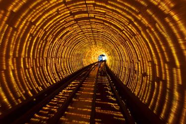 CH9625 Colourful lights in the Shanghai Bund Sightseeing Tunnel,  Hongkou, Shanghai, China.