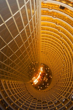 CH9634 The central atrium  of the Jin Mao Tower - Grand Hyatt Hotel seen from above, Pudong, Shanghai, China.