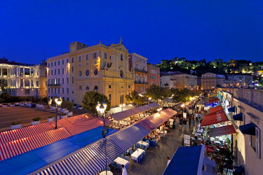 FRA7172 Nice, Provence Alpes Cote d'Azur, France. The street market stalls and restaurants of Place Charles Felix in the old town of Nice  by night