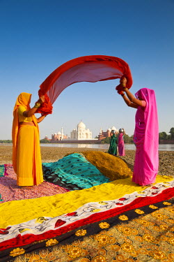 IN02193 Taj Mahal, UNESCO World Heritage Site, across Yamuna River, Women drying colourful Saris, Agra, Uttar Pradesh state, India (MR)