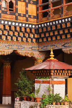 A chorten built inside the internal courtyard at the 17th century Paro Dzong, one of Bhutan's most impressive and well-known dzongs.