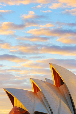 AUS1681AW Australia, New South Wales, Sydney, Sydney Opera House, Close-up at sunrise