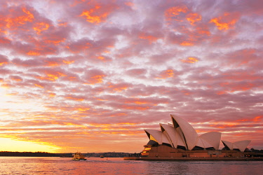 AUS1682AW Australia, New South Wales, Sydney, Sydney Opera House, Boat in harbour at Sunrise