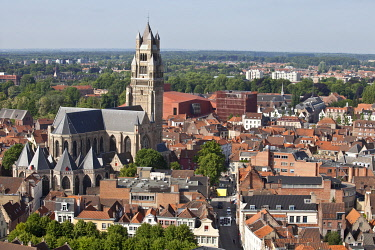 BEL1157 Aerial View of Bruges, Brugge, Flanders, Belgium, UNESCO World Heritage Site