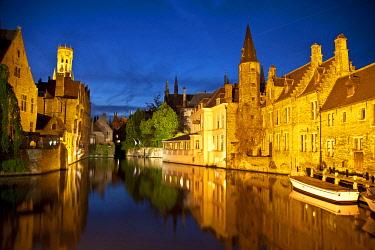 BEL1175 Rozenhoedkaai Quay of the rosary with Belfort tower, Bruges, Brugge, Flanders, Belgium, UNESCO World Heritage Site