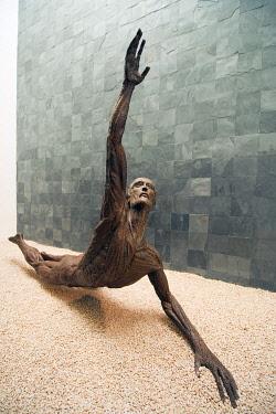 ELS0004 Central America, El Salvador, San Salvador (capital city), sculpture of Jose Simeon Canas by Ruben Martinez, Museo de Arte de El Salvador