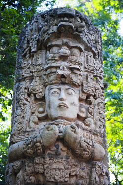 HON0062 Central America, Honduras, Tegucigalpa (capital city), Mayan statue in La Concordia Park