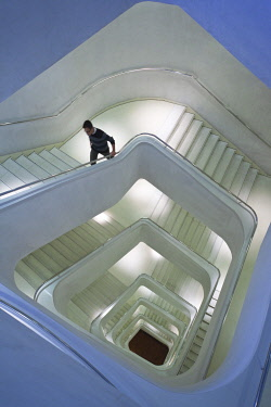 Spain, Madrid, Paseo del Prado Area, Caixa Forum, Herzog and de Meuron architects, staircase