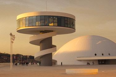 ES11289 Spain, Asturias Region, Asturias Province, Aviles, Centro Niemeyer, arts center designed by Brazilian architect Oscar Niemeyer in formerly polluted industrial city, built 2011
