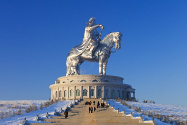 MON1231AW Mongolia, Tov Province, Tsonjin Boldog. A 40m tall statue of Genghis Khan on horseback stands on top of The Genghis Khan Statue Complex and Museum.