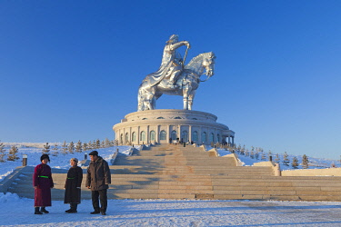 MON1234AW Mongolia, Tov Province, Tsonjin Boldog. A 40m tall statue of Genghis Khan on horseback stands on top of The Genghis Khan Statue Complex and Museum.