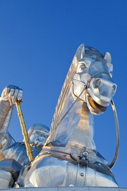 MON1235AW Mongolia, Tov Province, Tsonjin Boldog. A 40m tall statue of Genghis Khan on horseback stands on top of The Genghis Khan Statue Complex and Museum.