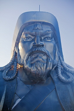 MON1236AW Mongolia, Tov Province, Tsonjin Boldog. A 40m tall statue of Genghis Khan on horseback stands on top of The Genghis Khan Statue Complex and Museum.