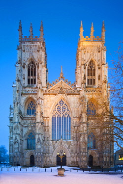 ENG10298AW United Kingdom, England, North Yorkshire, York. The West Face of York Minster in Winter.