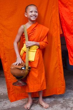 TPX29021 Laos, Luang Prabang, Wat Sensoukarahm, Portrait of Monk