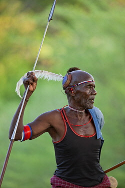 An old Pokot man in traditional dress. His decorated blue clay bun is typical of his tribe.