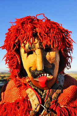 POR6702AW Medieval traditional masks used during the Winter Festivities. Grijo de Parada, Tras-os-Montes, Portugal