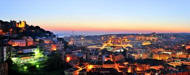POR6745AW The historical center of Lisbon at twilight. Portugal