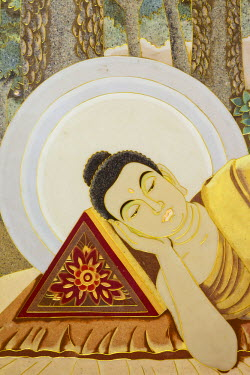 TPX30141 China, Hong Kong, Tsuen Wan, Western Monastery, Wall Mural depicting Life of the Buddha