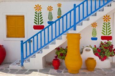 EU12_AJE0010_M Flowers and colorful pots, Chora, Mykonos, Greece