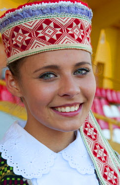 Young singer costume in festival, near Vilnius Lithuania