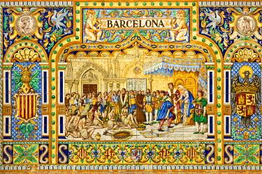 ES05672 Spain, Andalucia Region, Seville Province, Seville, Plaza Espana, Barcelona tile wall
