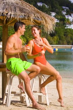US10_GJO0589_M Couple on beach, Windjammer Landing, St. Lucia